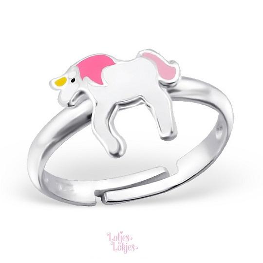 Zilveren kinderring eenhoorn roze/wit