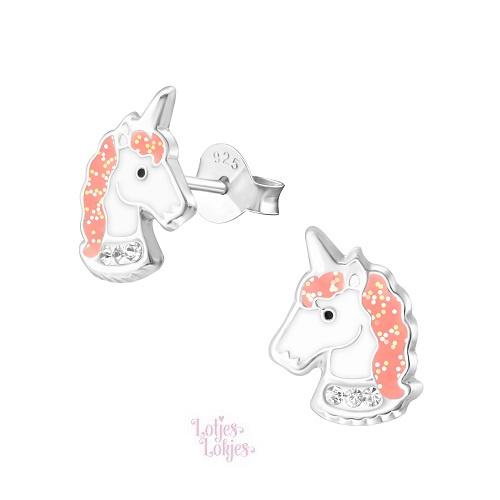Zilveren kinderoorbellen eenhoorn roze glitter