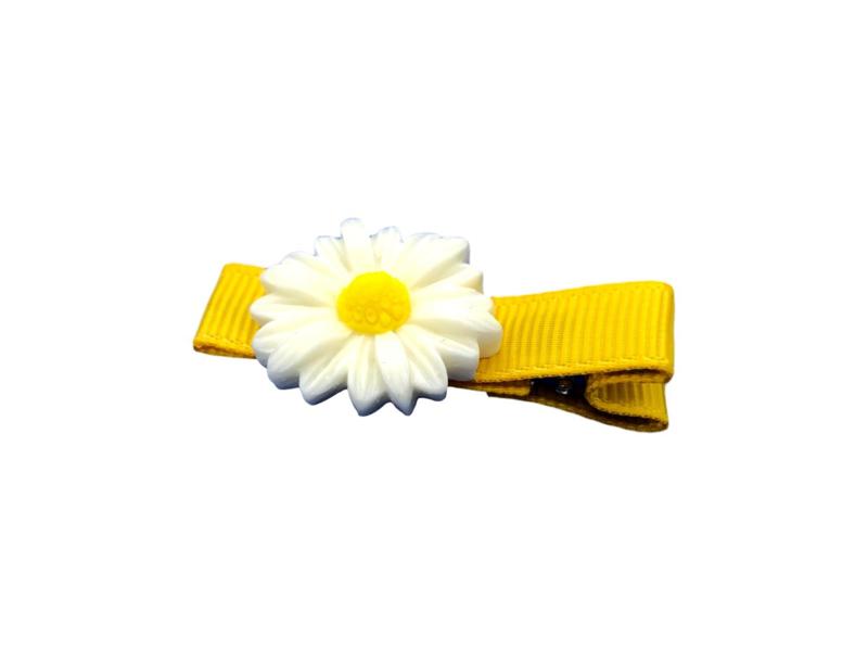 Haarlokspeldje geel met madeliefje
