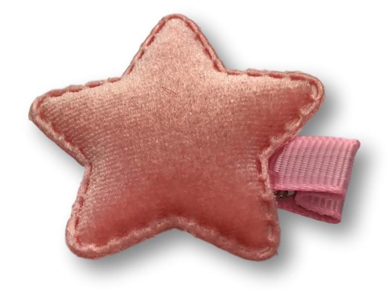 Haarlokspeldje ster velvet roze