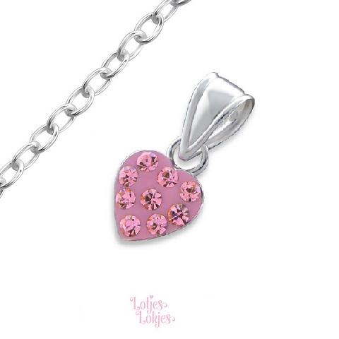 Zilveren kinderketting hartje lichtroze | kristal