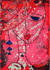 Dame roze rood - a6 kaart