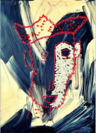 Man met rood stiksel - a6 kaart