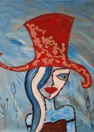 Dame met hoed - a6 kaart