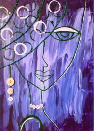 Dame paars met knopen - a6 kaart