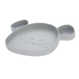 lassig siliconen bordje met zuignap grijs