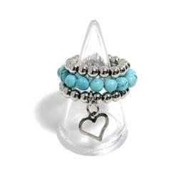 Set van 3 ringen zilver/turquoise