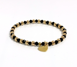 Armband Hematiet goud/glaskraal zwart