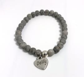 Armband natuursteen grijs