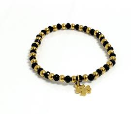 Armband edelstaal goud/zwart