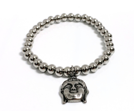 Armband edelstaal 6mm Buddha