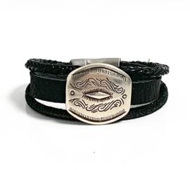Armband leer zwart/zilver