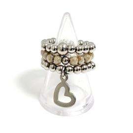 Set van 3 ringen taupe