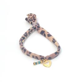 Turquoise & Panterprint Gold Armband