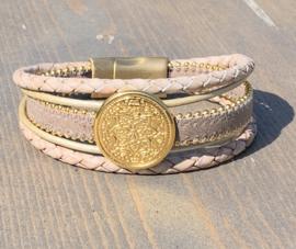 Armband taupe/creme goud