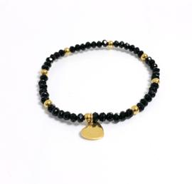 Armband edelstaal zwart/goud