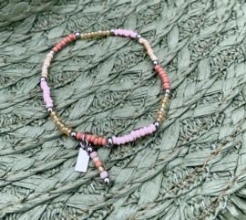 Pink & Creme Silver Armband