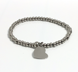 Armband edelstaal 4mm hart