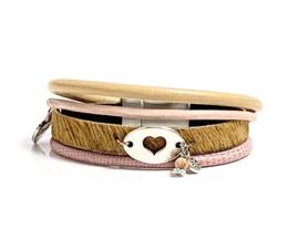 Pink & Camel armband