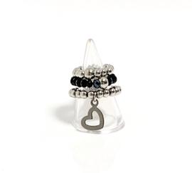 Set van 3 ringen zwart