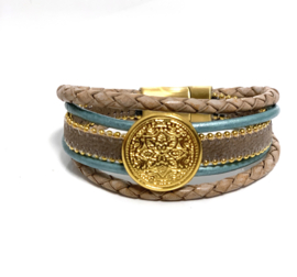 Armband taupe/turquoise goud