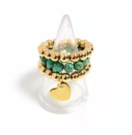 Set van 3 ringen goud/turquoise