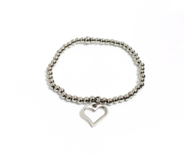 Armband edelstaal 4mm big heart open