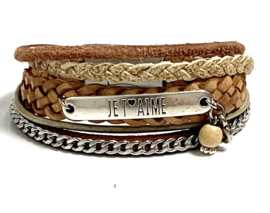 Taupe, camel & Creme Silver armband