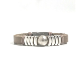 Leren armband taupe/zilver