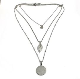 Edelstalen ketting zilver set