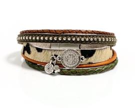 Armband leer leopard/green