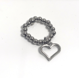 Ring big heart silver