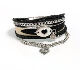 Armband leer zwart/zebra set