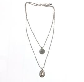 Dubbele edelstalen ketting munt zilver