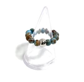 Ring natuursteen blauw/bruin