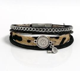 Armband leer zwart/leopard