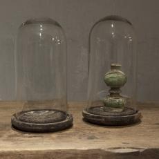 Glazen stolp plateau small vintage finish