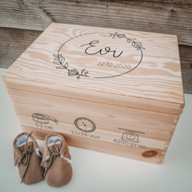 Bewaren   Herinneringsbox geboortegegevens bloemenkrans