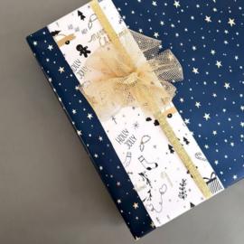 Cadeaupapier | Kerst donkerblauw goud (3 meter)