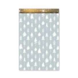 Cadeauzakjes | Lovely trees - ijsblauw goud 5 stuks (17x25 cm)
