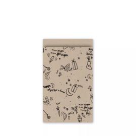 Cadeauzakjes | Sinterklaas 5 stuks - kraft (12x19 cm)