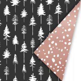 Cadeaupapier | Kerst lovely trees - zwart rosé (30x300 cm)
