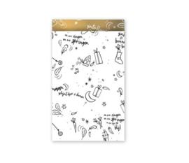 Cadeauzakjes | Sinterklaas 5 stuks - wit goud (12x19 cm)