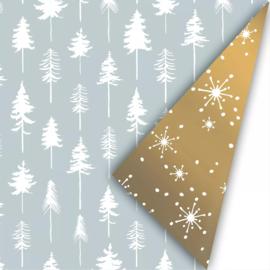 Cadeaupapier | Kerst lovely trees - ijsblauw goud (30x300 cm)