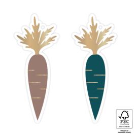 Cadeaulabel   Sint wortel goud (4 stuks)