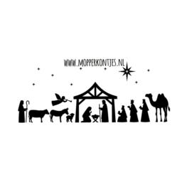 Herbruikbare raamsticker | Kerststal