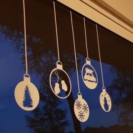 Herbruikbare raamsticker | Kerstballen
