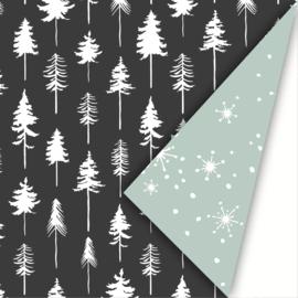 Cadeaupapier | Kerst lovely trees - zwart salie (30x300 cm)