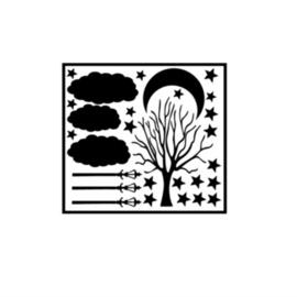 Herbruikbare raamsticker | Boom, lantaarnpaal, lucht
