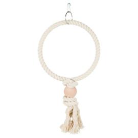 Vogelspeelgoed touw ring Ecru 24 cm